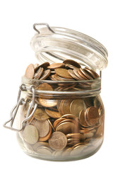 coin money in glass jar