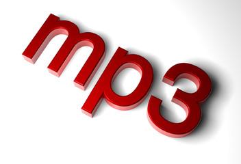 mp3 schrift rot