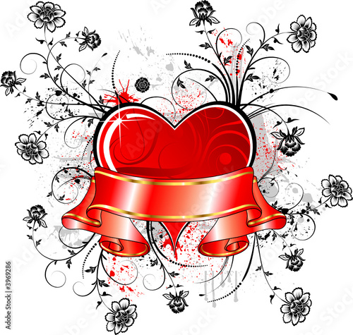 Valentines abstract frame with ribbon and blots, vector