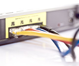 Network cables connecting to a DSL router poster