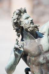 Satyr statue close-up from Pompeii, Italy