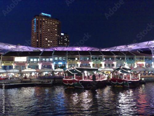 Leinwanddruck Bild Clark Quay - Singapore - Night Scene