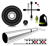 automotive service and repair related icons poster