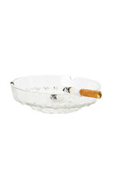 Cigarette showing nicotine stain on filter in ashtray