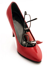 shoe with glasses and lipstick