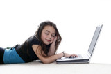 Young girl  working on the laptop and falling asleep poster