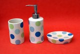 bathroom accessories. containers made of pot or crockery poster