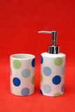 bathroom accessories. containers made of pot /crockery. poster