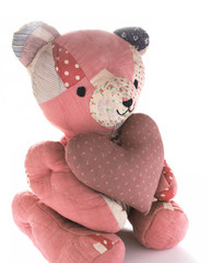 quilted bear with calico heart 1