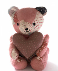 quilted bear with calico heart 2