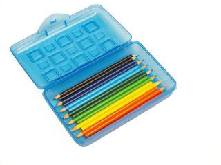 pencil box with colored pencils