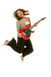 Young Female Adult Jumping While Playing Guitar