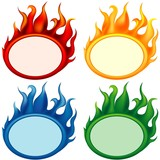 Fire-banners - banners as illustration with flame effects poster