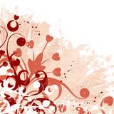 Grunge floral background with blots, vector illustration poster