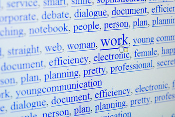 internet keywords screen - work