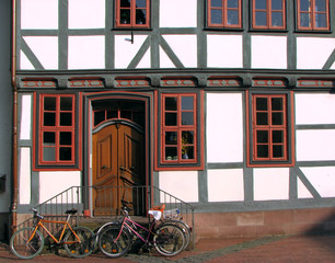 Bicycles on a street in Goettingen, Germany