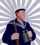 Staunch world war two sailor poster