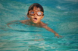 Asian Boy With Orange Swim Goggles poster