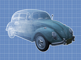 Transparent illustration of a classic Volkswagen Beetle.