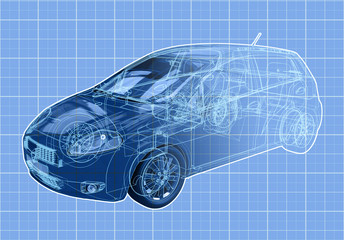 Perspective view blueprint illustration of a hatchback.