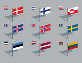 Flag Pins - Nordic, Baltic poster