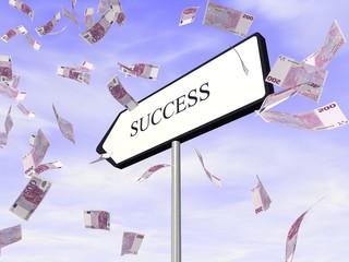 Chemin du succès, success way et billets d'euro