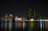 Night time skyline of typical American city (Detroit) poster
