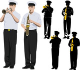 Member of military band playing trumpet and saxophone poster