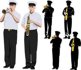 Member of military band playing trumpet and saxophone