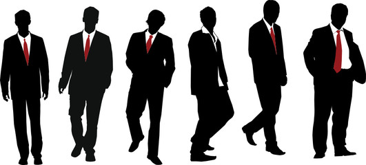 Group of seven powerful businessmen. Vector silhouette