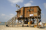 lifeguard watch hut coast tel aviv israel poster
