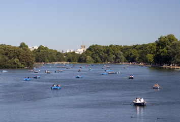 Serpentine Lake, Hyde Park with pedal boats.