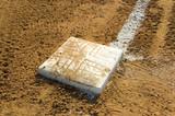 Empty base on baseball field poster