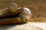 Baseball equipment on base poster