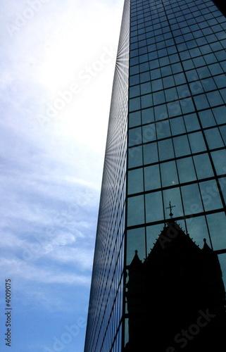 Reflection of Trinity Church on John Hancock Tower, Boston