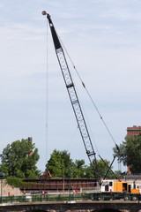 crane working on a bridge