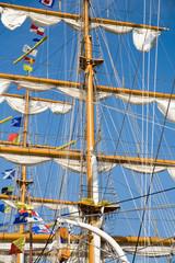 rigging of big sailing ship