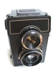 Isolated vintage camera on white background.