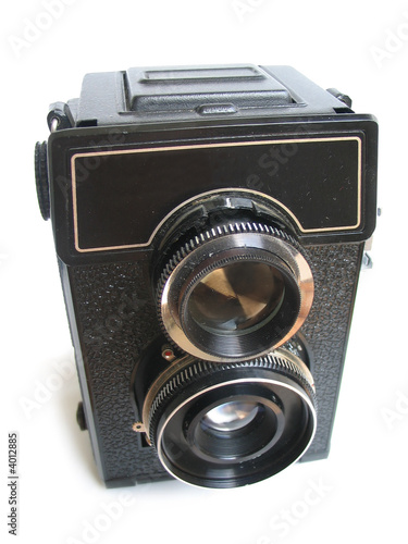 Isolated vintage camera on white background.