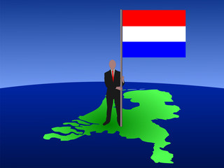 man with flag of netherlands