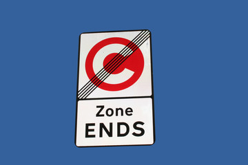 end of congestion charge zone sign