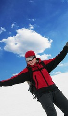 Snowboarder in red jacket
