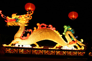dragon and lanterns during new years lantern festival