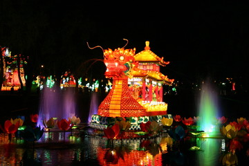 dragon and fountains during new year lantern festival