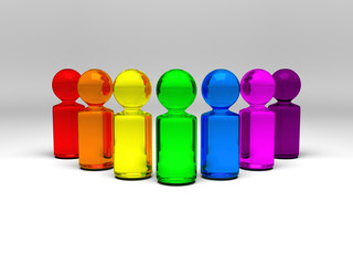 symbolic people in rainbow colors standing in semicircle