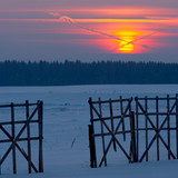 Intersections, sunset, fence and winter poster