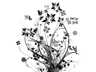 black floral element in white background