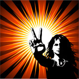 Female giving peace sign poster