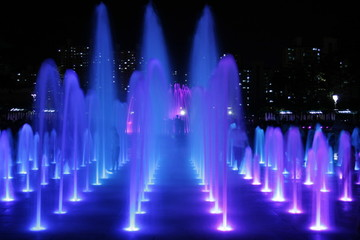 Colorful Fountains series At Night