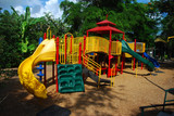 Colorful modern playground at scenic Miami park poster